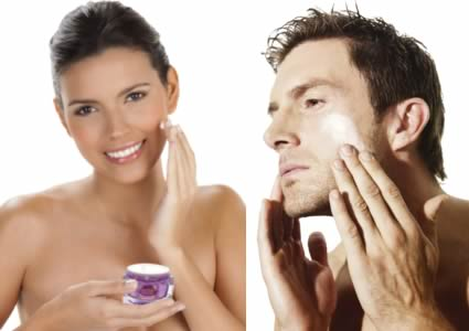 Lady & man using BeeFirm® bee venom moisturising cream mask